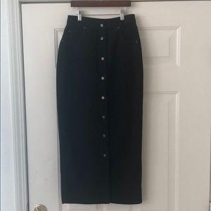 "DKNY Long 34"" Black Denim Skirt Size 4 Button Down"